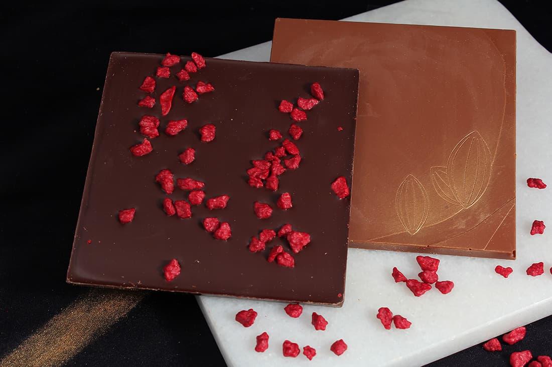 Tablette chocolat Framboise | Gourmandises chocolatées | Pâtisserie Chocolaterie Raffin